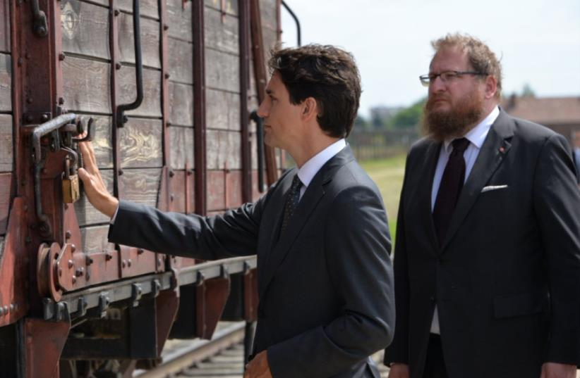 Canadian PM Justin Trudeau visits Auschwitz (photo credit: AUSCHWITZ MEMORIAL TWITTER)