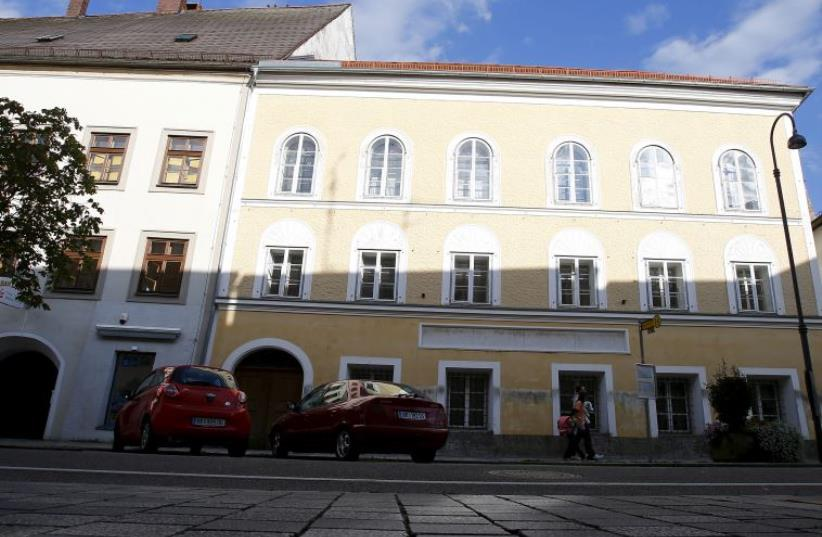 The  house in which Adolf Hitler was born is seen in the northern Austrian city of Braunau am Inn September 24, 2012 (photo credit: REUTERS)