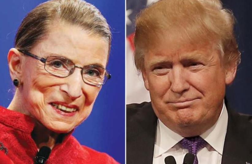 Ruth Ginsburg and Donald Trump (photo credit: REUTERS)