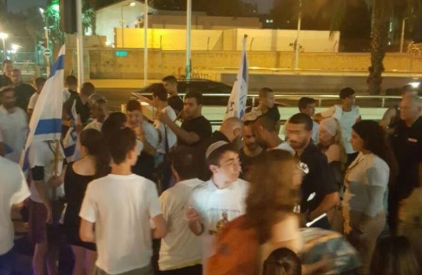 Demonstrators gather in solidarity with IDF soldier Elor Azaria in Tel Aviv.  (photo credit: FACEBOOK)