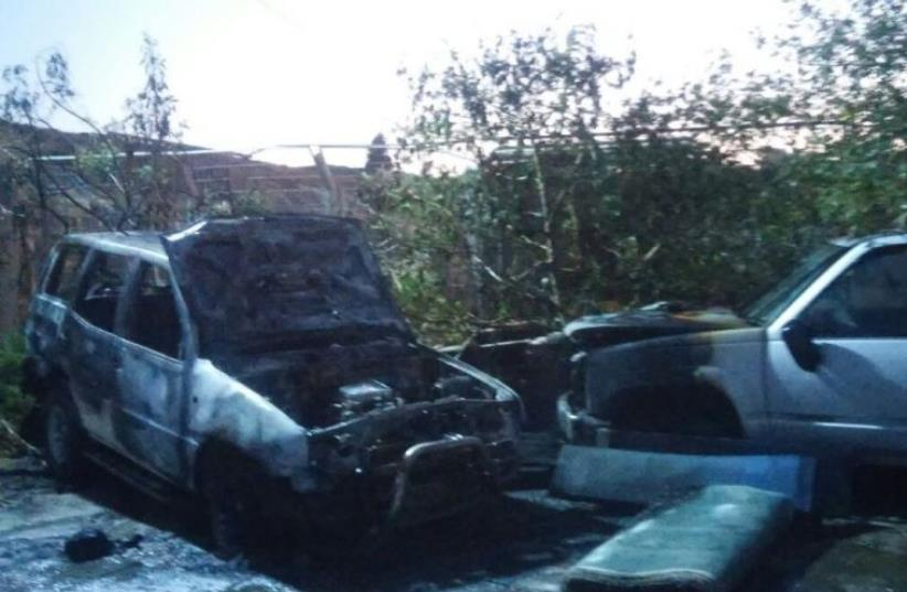 Vehicle burned by Jewish suspects in a revenge attack against Palestinians for the June 8 shooting at Tel Aviv's Sarona Market (photo credit: POLICE SPOKESPERSON'S UNIT)