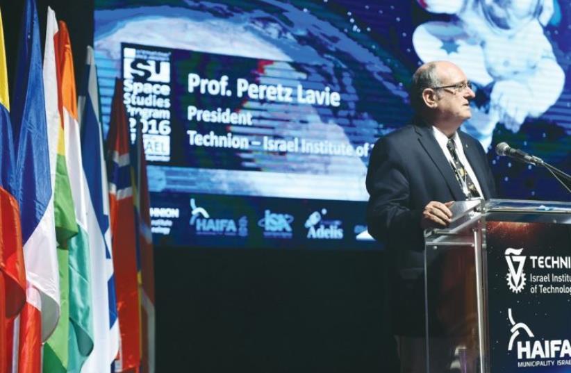 TECHNION PRESIDENT Prof. Peretz Lavie addresses the first summer program of the International Space University in Haifa yesterday. (photo credit: Courtesy)