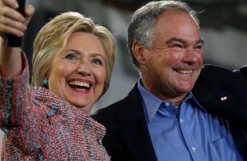 Hillary Clinton with VP pick, Virginia Senator TimHillary Clinton with VP pick Senator Tim Kaine (D-VA) (photo credit: REUTERS)