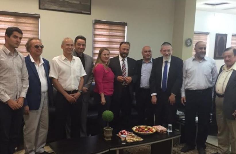 Former Saudi general Dr. Anwar Eshki and a group of Saudi businessmen and academics in Jerusalem, July 22, 2016 (photo credit: Courtesy)