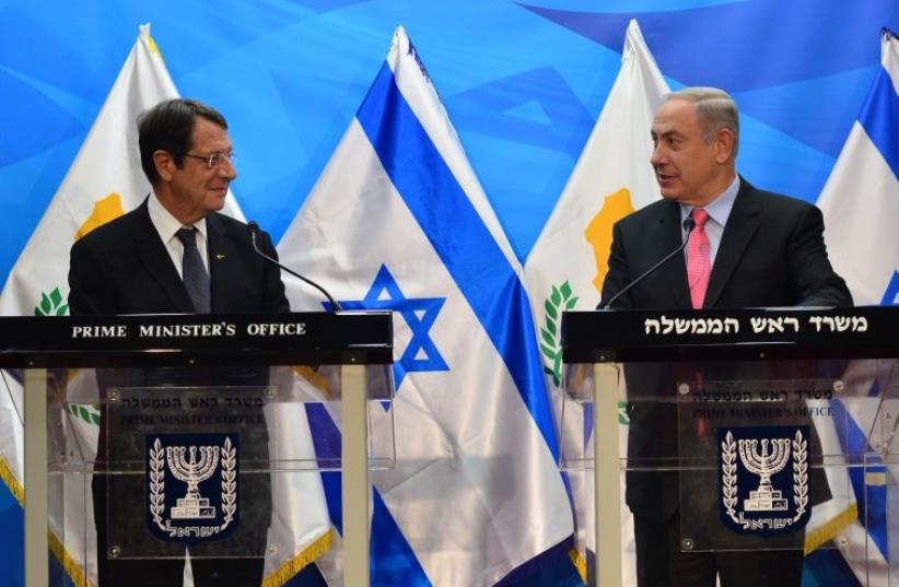 Prime Minister Benjamin Netanyahu meets with Cypriot President Nicos Anastasiades in Jerusalem (photo credit: KOBI GIDON / GPO)