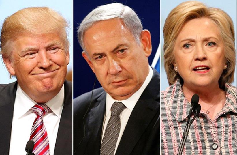 Trump Netanyahu and Clinton (photo credit: REUTERS)