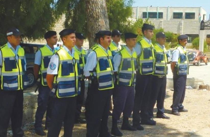 Future Palestinian police in training (photo credit: SETH J. FRANTZMAN)