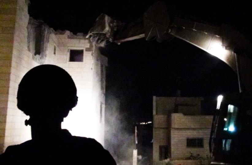 IDF destroys home of Sarona Market terrorists (photo credit: COURTESY IDF SPOKESMAN'S OFFICE)