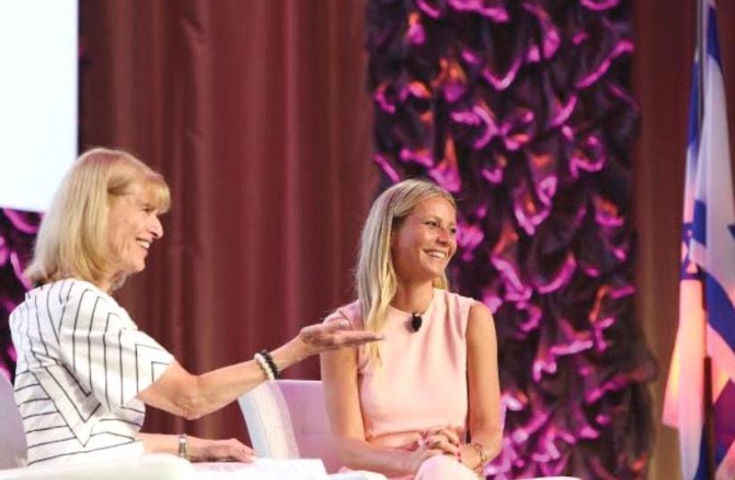 HADASSAH WOMEN'S Zionist Organization of America National President Ellen Hershkin (left) makes a presentation to award-winning actress Gwyneth Paltrow. (photo credit: Courtesy)