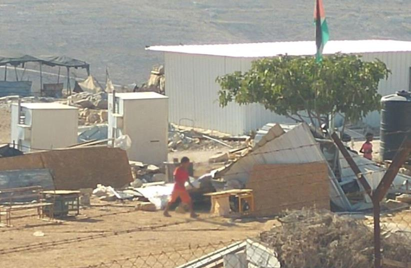 Demolition of illegal structures built by Arabs in the West Bank's Area C, August 9, 2016 (photo credit: MOUNT HEBRON REGIONAL COUNCIL SPOKESPERSON'S OFFICE)