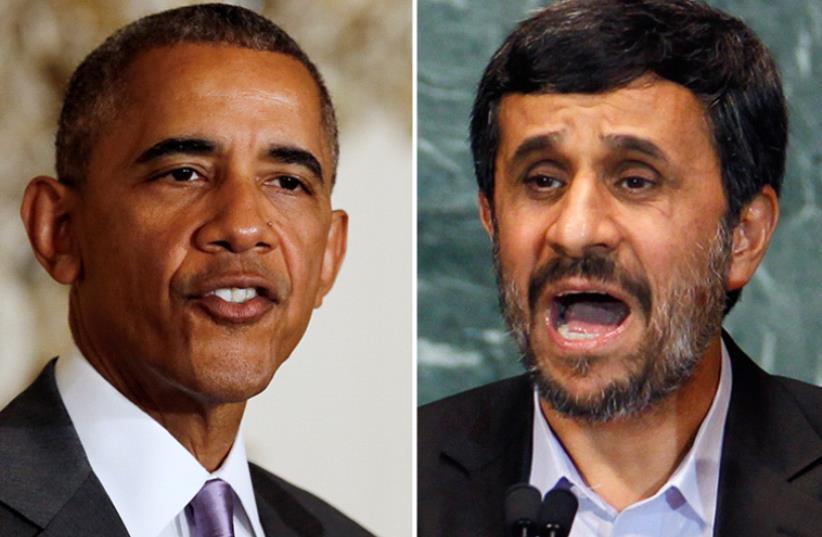 Ahmadinejad and Obama (photo credit: REUTERS)