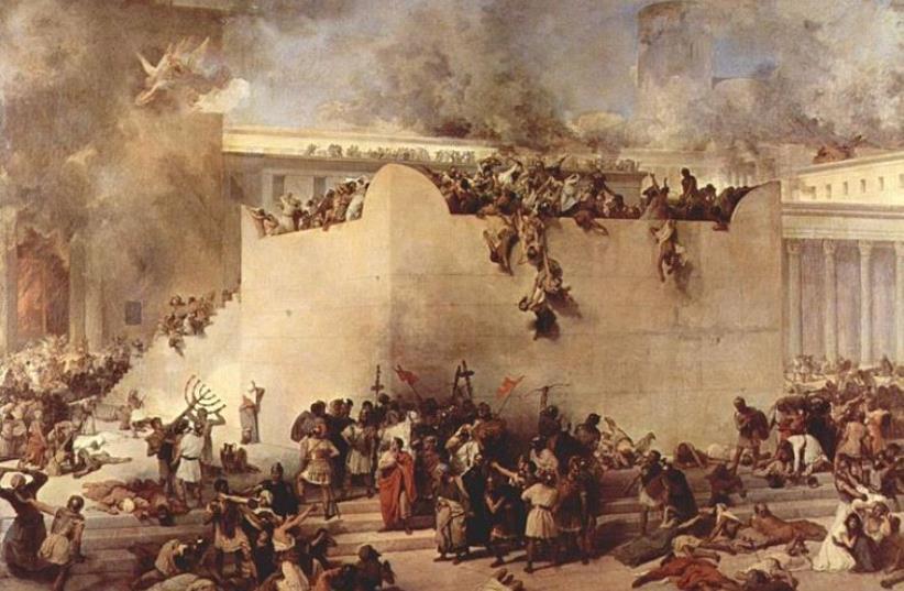 The destruction of the Temple of Jerusalem by Francesco Hayez (photo credit: Wikimedia Commons)