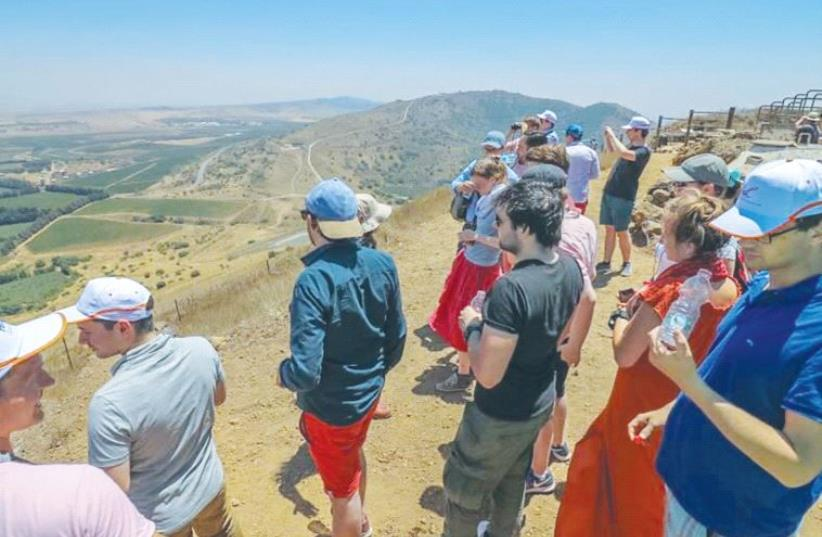 CIJO MISSION PARTICIPANTS view Syria from the Golan Heights, where they heard explosions from the nearby civil war two weeks ago. (photo credit: Courtesy)