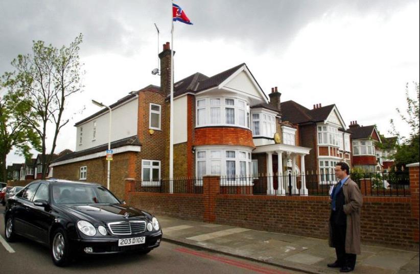 The North Korean embassy in London (photo credit: ADRIAN DENNIS/AFP)