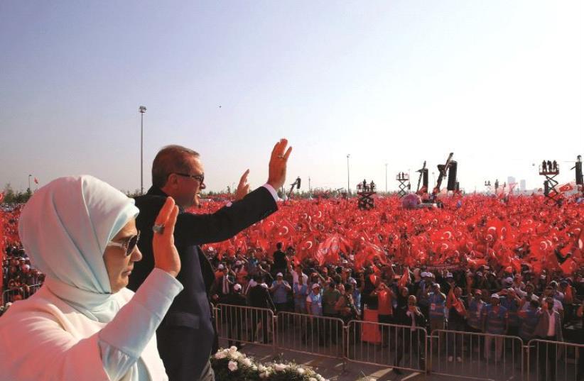 Rassemblement de soutien au président Erdogan, le 7 août 2016 (photo credit: REUTERS)