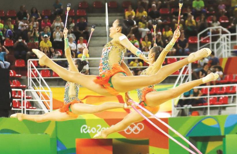 Israel's Olympic rhythmic gymnastics team  (photo credit: REUTERS)
