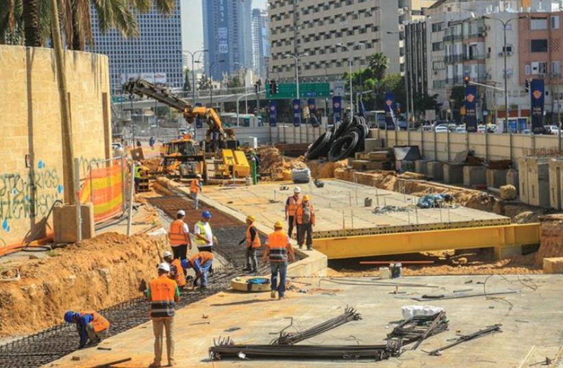 Yehudit Rail Station in Tel Aviv under construction (photo credit: NTA)