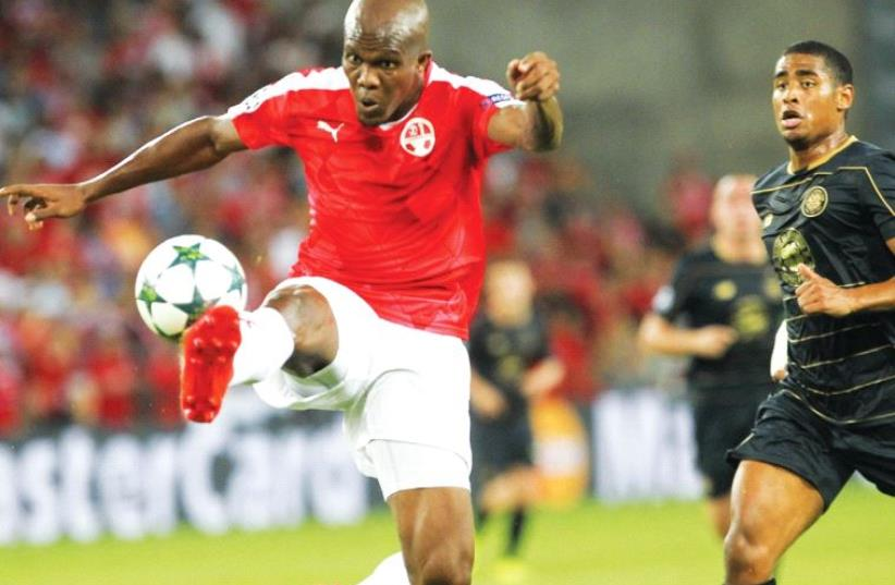 Hapoel Beersheba will be missing several key players in Saturday's match against Hapoel Tel Aviv, but should have forward Anthony Nwakaeme (left) available for the early-season Premier League showdown. (photo credit: DANNY MARON)