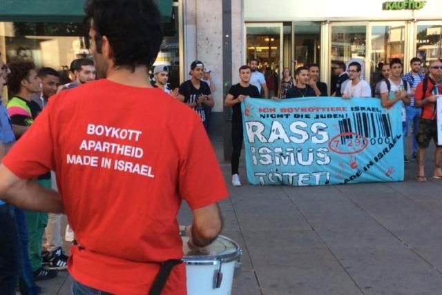 BDS activists in Berlin. (photo credit: MANFRED DEUTSCHER)