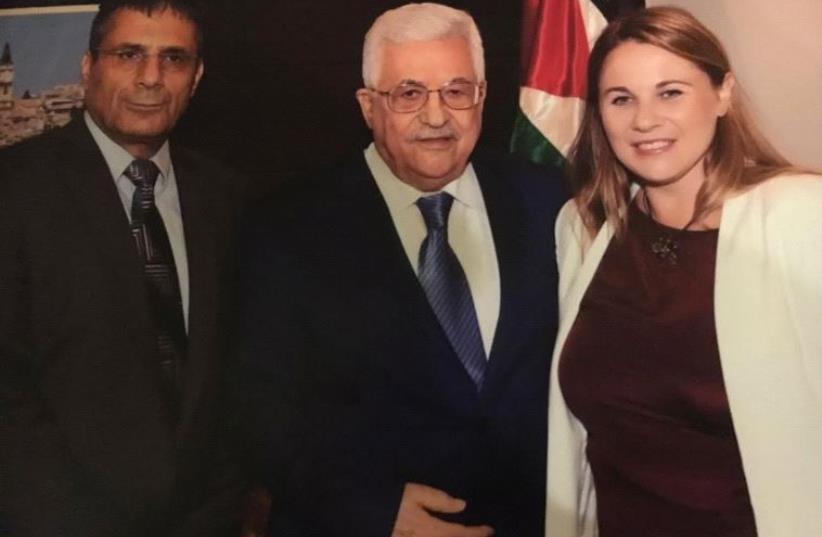 Zionist Union MKs Ksenia Stevlova and Yossi Yona meet with Palestinian Authority President Mahmoud Abbas in Ramallah  (photo credit: Courtesy)