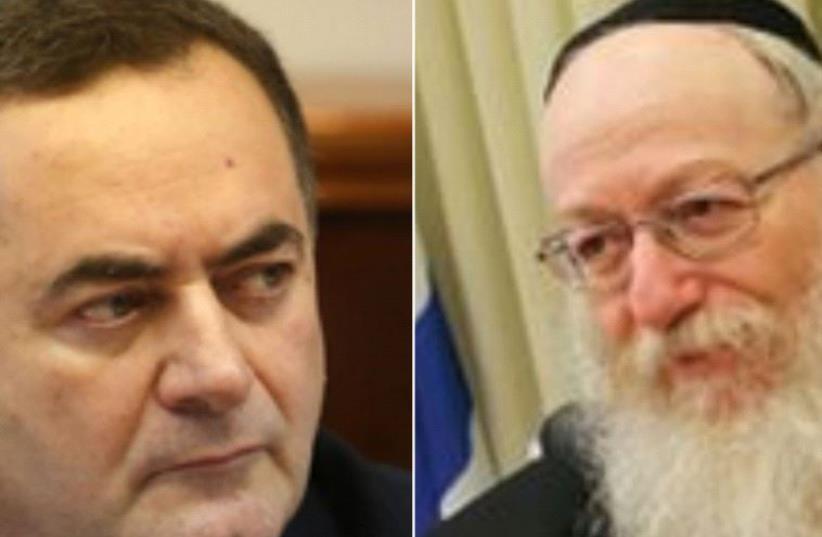 Transpotation Minister Yisrael Katz and Health Minister Yaakov Litzman (photo credit: HEALTH MINISTRY,MARC ISRAEL SELLEM)