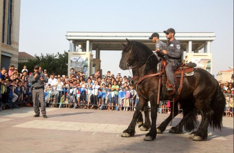 Police hold special exhibition for kids and parents in Jerusalem's Safra Square (photo credit: MARC ISRAEL SELLEM)