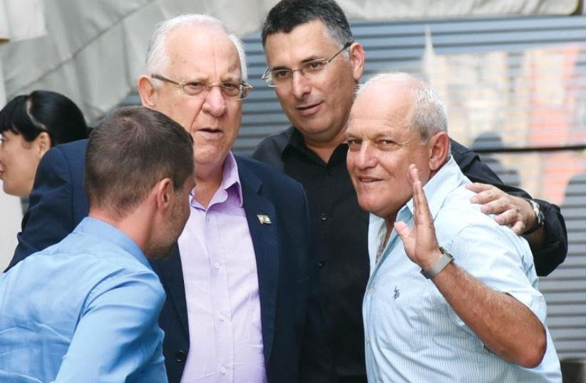 REUVEN RIVLIN (left), Gideon Sa'ar and Chaim Katz. (photo credit: AVIV HOFI)