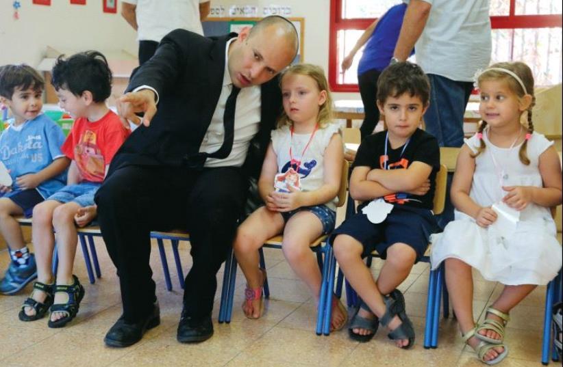 Education Minister Naftali Bennett meets with pupils at the start school year (photo credit: SASSON TIRAM)