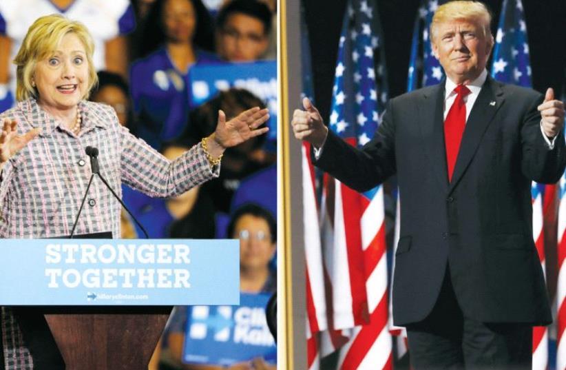 Clinton and Trump (photo credit: REUTERS)