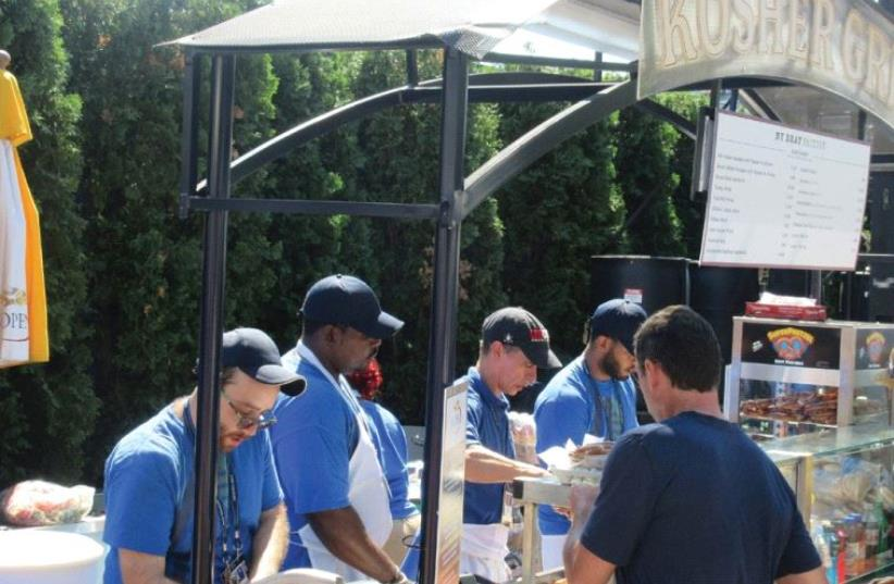 THE GLA TT KOSHER food stand is among the most popular eatery on the grounds of the US Open on all but two days of the tournament – the two Saturdays on which it is closed. (photo credit: HOWARD BLAS)