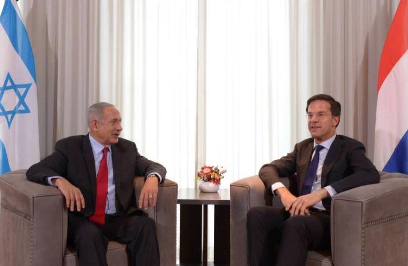 Prime Minister Benjamin Netanyahu with Dutch Prime Minister Mark Rutte (photo credit: AMOS BEN-GERSHOM/GPO)