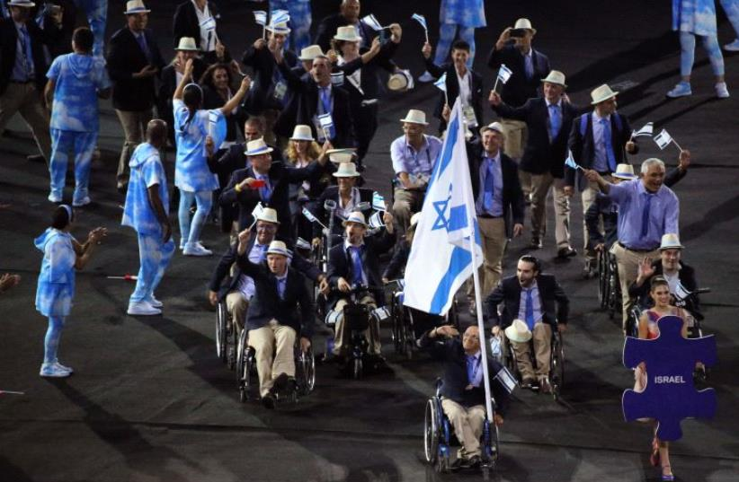 Israel's 2016 Paralympic team at the game's Opening Ceremony in Rio de Janeiro (photo credit: REUTERS)