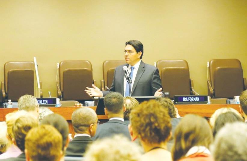 Danny Danon speaks at UN headquarters in New York (photo credit: Courtesy)
