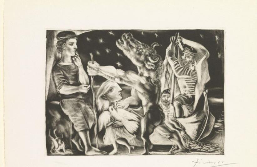 Minotaure aveugle guidé par une fillette dans la nuit, 1934 (photo credit: ELIE POSNER)