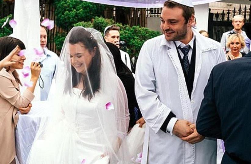 The nuptials of Rachel and Jeff Czerniak, conducted by a Chabad rabbi in Seoul, Korea (photo credit: CHABAD.ORG/ZAK MILOFSKY)