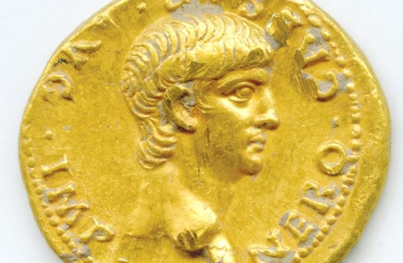 The gold coin bearing the image of Roman Emperor Nero discovered on Mount Zion (photo credit: UNC CHARLOTTE)