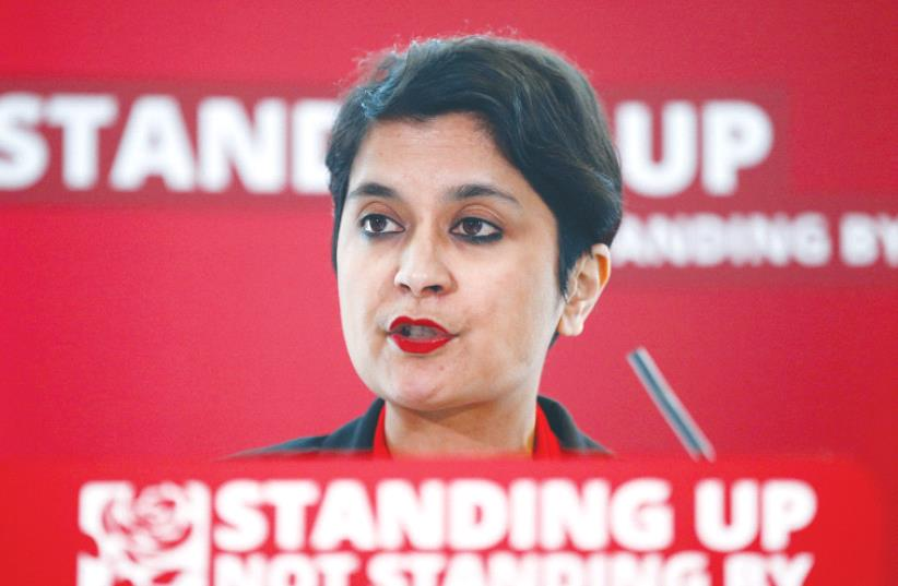 SHAMI CHAKRABARTI speaks at an event on antisemitism within the Labour party, in London in August. (photo credit: REUTERS)
