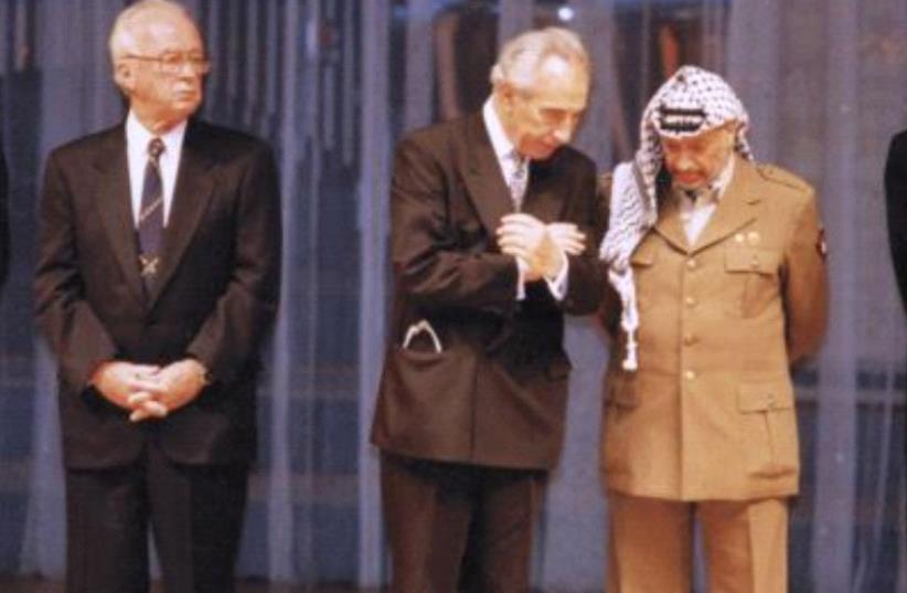 Yitzak Rabin, Shimon Peres and Yasser Arafat (photo credit: REUVEN CASTRO)