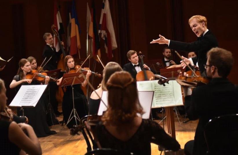 Actor Rafael Stachowiak conducting in Poland (photo credit: IRIS NESHER)