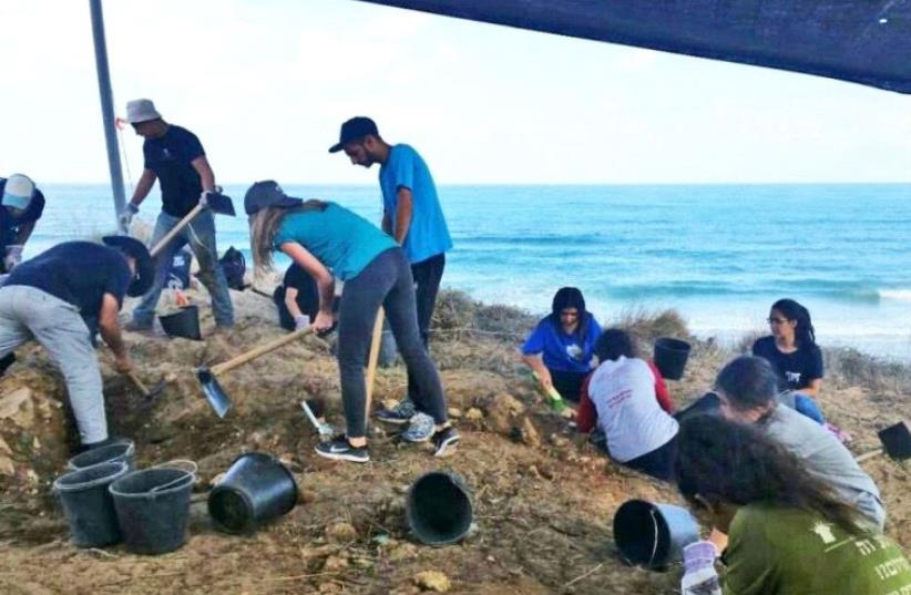 Young participants who assisted during the beach excavation.  (photo credit: CLARA AMIT, COURTESY OF THE ISRAEL ANTIQUITIES AUTHORITY)