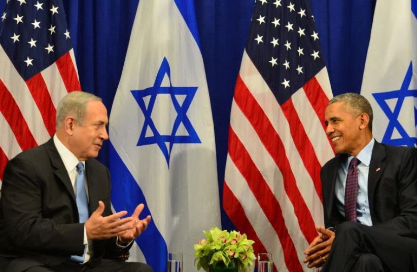 Barack Obama and Benjamin Netanyahu meet in New York on Septmber 21 (photo credit: KOBI GIDON / GPO)