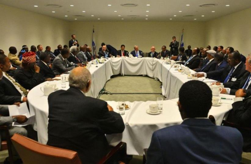 Prime Minister Netahyahu, Ambassador Danon and leaders from African countries and the developing world.  (photo credit: SHAHAR AZRAN)