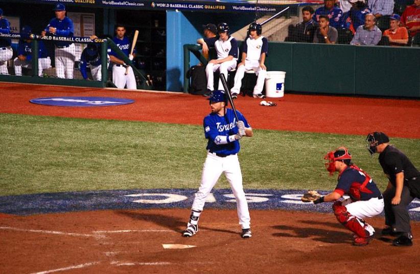 Cody Decker bats for Israel in the World Baseball Classic. (photo credit: JOSH SOLOMON)