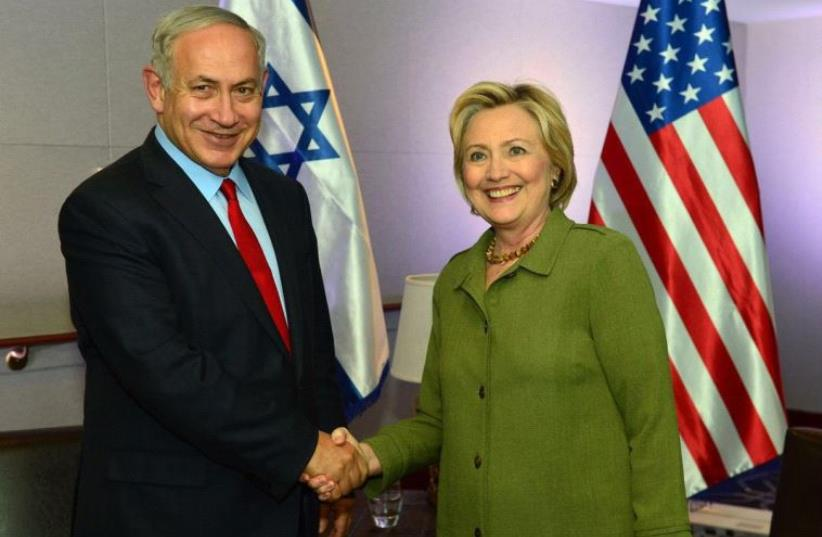 Prime Minister Benjamin Netanyahu and Democratic nominee Hillary Clinton (photo credit: KOBI GIDEON/GPO)