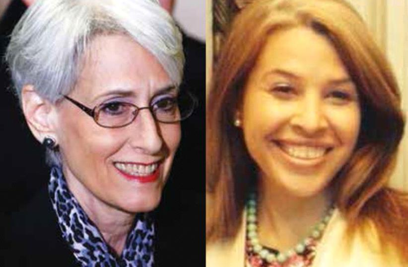 Wendy Sherman and Sarah Bard (photo credit: CHERYL HIMMELSTEIN,REUTERS)