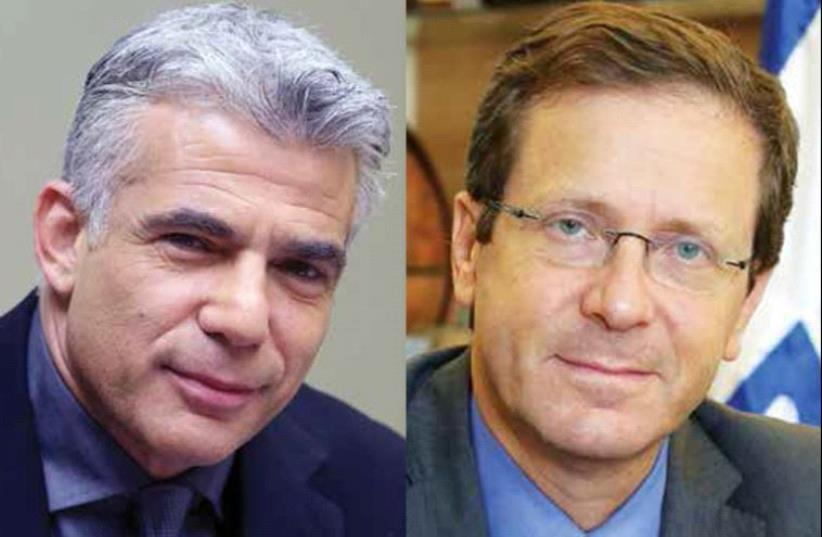 Yair Lapid and Isaac Herzog (photo credit: MARC ISRAEL SELLEM)