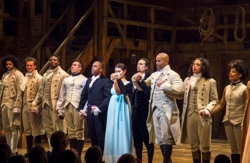 """The play """"Hamilton,"""" bows to the audience after opening night of the play on Broadway in New York August 6, 2015 (photo credit: REUTERS)"""