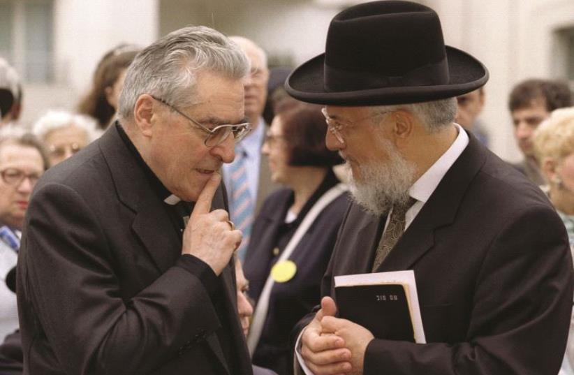 Le Grand Rabbin de France avec Monseigneur Lustiger (photo credit: REUTERS)