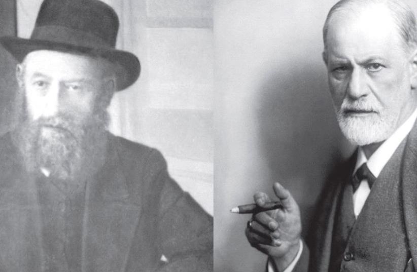 Rabbi Shalom Dov-Ber Schneersohn (L) and Prof. Sigmund Freud (R) (photo credit: Wikimedia Commons)