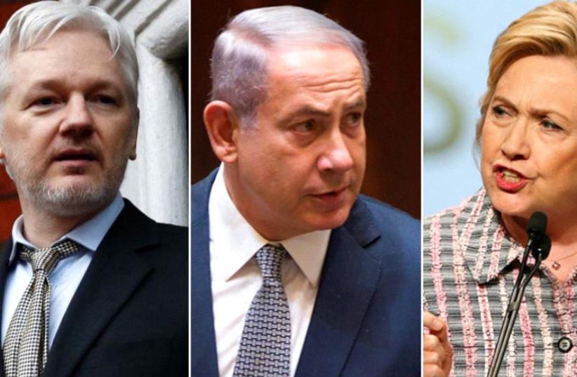Julian Assange, PM Netanyahu and Hillary Clinton (photo credit: REUTERS)